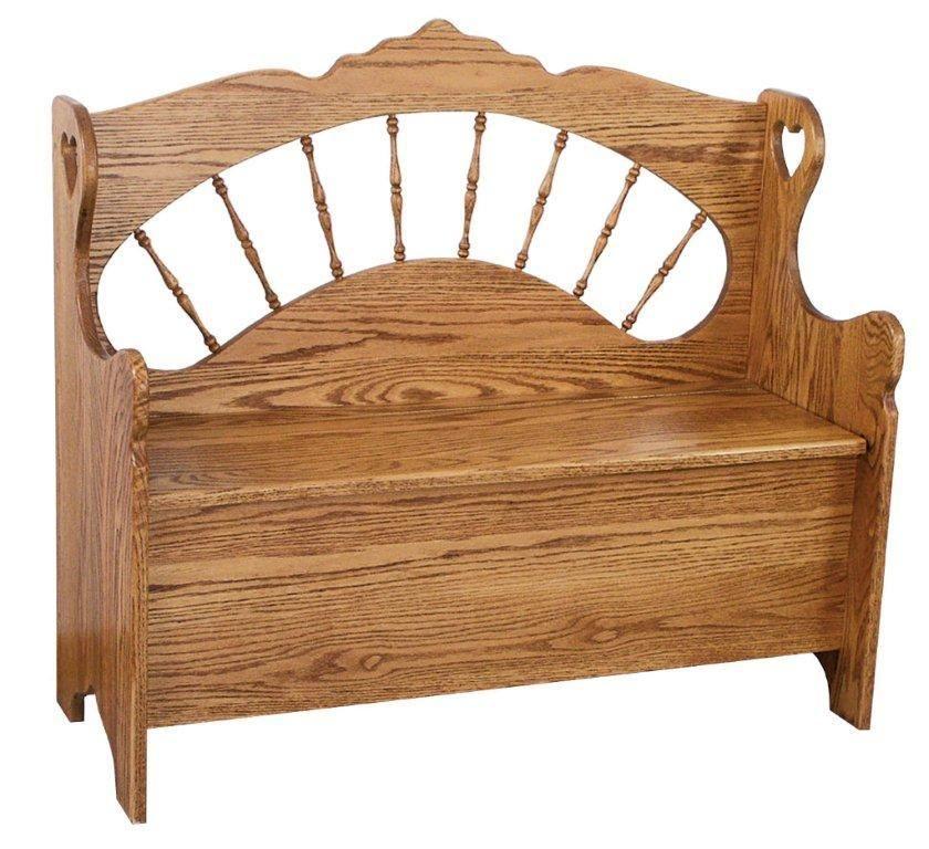 Sunrise Spindle Storage Amish Bench