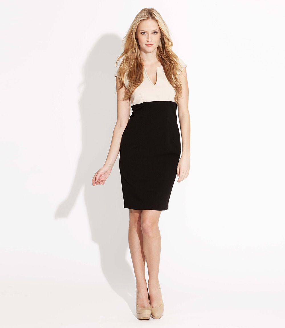 Split Neck Sift dress, looks great for work :)
