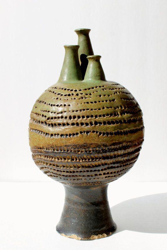 Vintage ABSTRACT Art Pottery VESSEL Mid Century Modern Large Art Sculpture Unique Eames Era