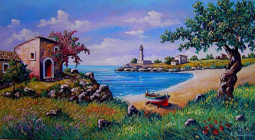Paesaggi quadri olio su tela vendita dipinti pittori for Paesaggi marini dipinti