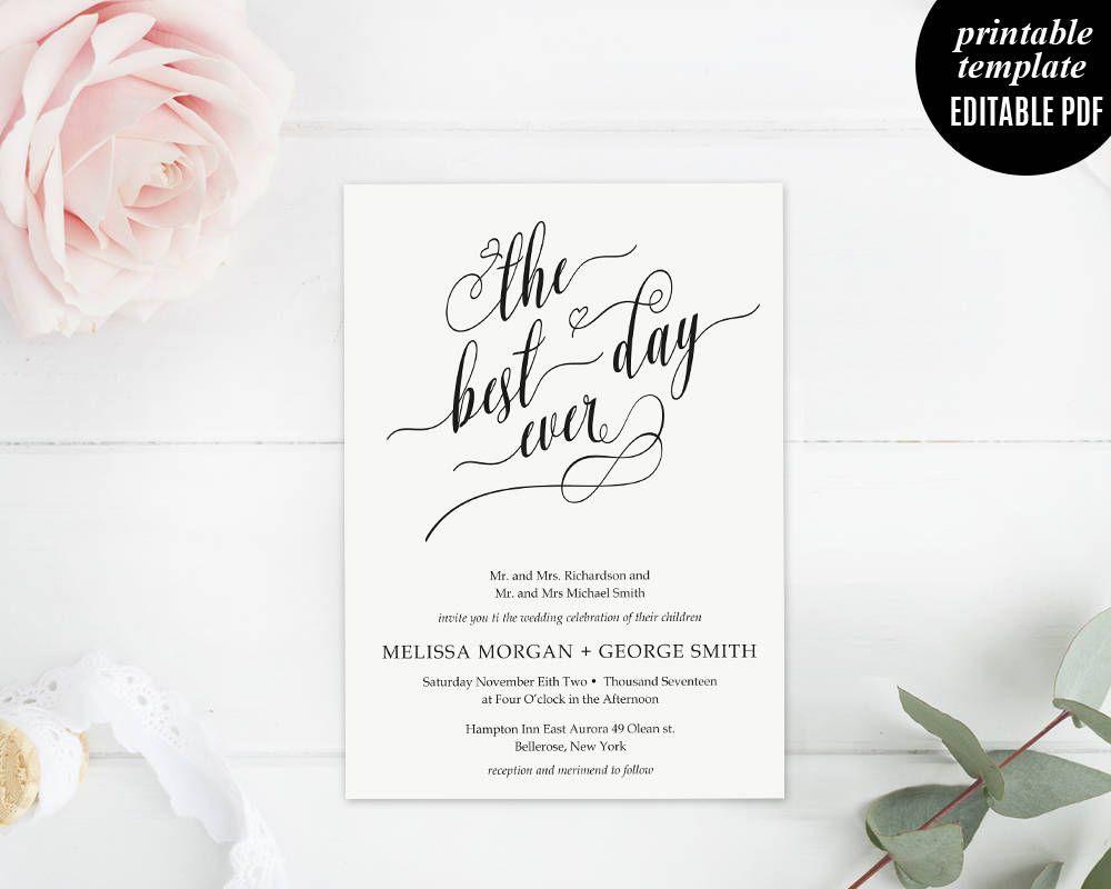 The Best Day Ever Wedding invitation Set Template Printable Modern Elegant Classic DIY PDF Digital Download Editable by Violetweddingshop on Etsy