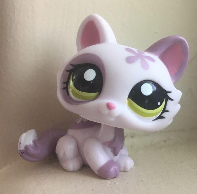 Littlest Pet Shop Lps Purple Flower Crouching Cat 1628 Green Eyes