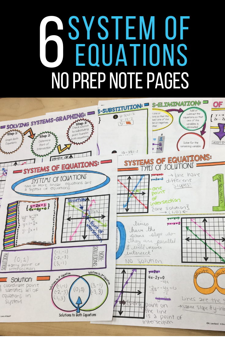 System Of Equation Note Pages Systems Of Equations Middle School Math Notes Equations