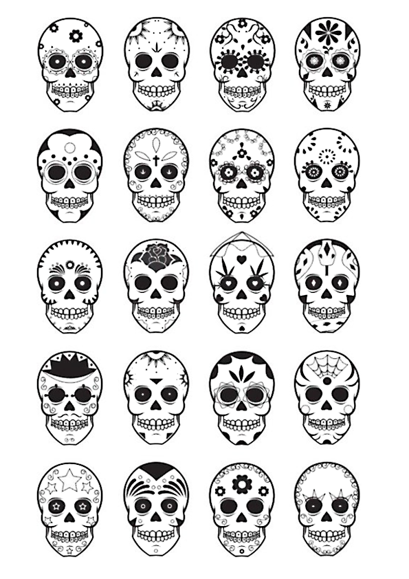 printable skull mask | Sugar Skull Template Printable A colouring ...