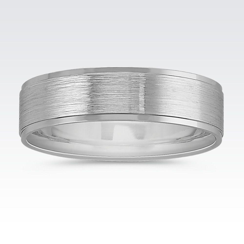 14k white gold comfort fit wedding band 6mm comfort