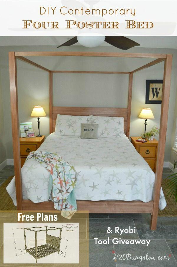 Free Queen Bed Plans And a Ryobi Giveaway   Bett, Häuschen und Ideen