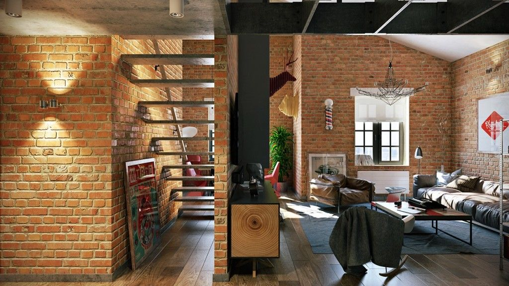Home & Apartment Brick Wall Loft Design Industrial Style