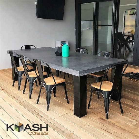 Polished Concrete 8 To 10 Seater Dining Table With 4 Powder Coated