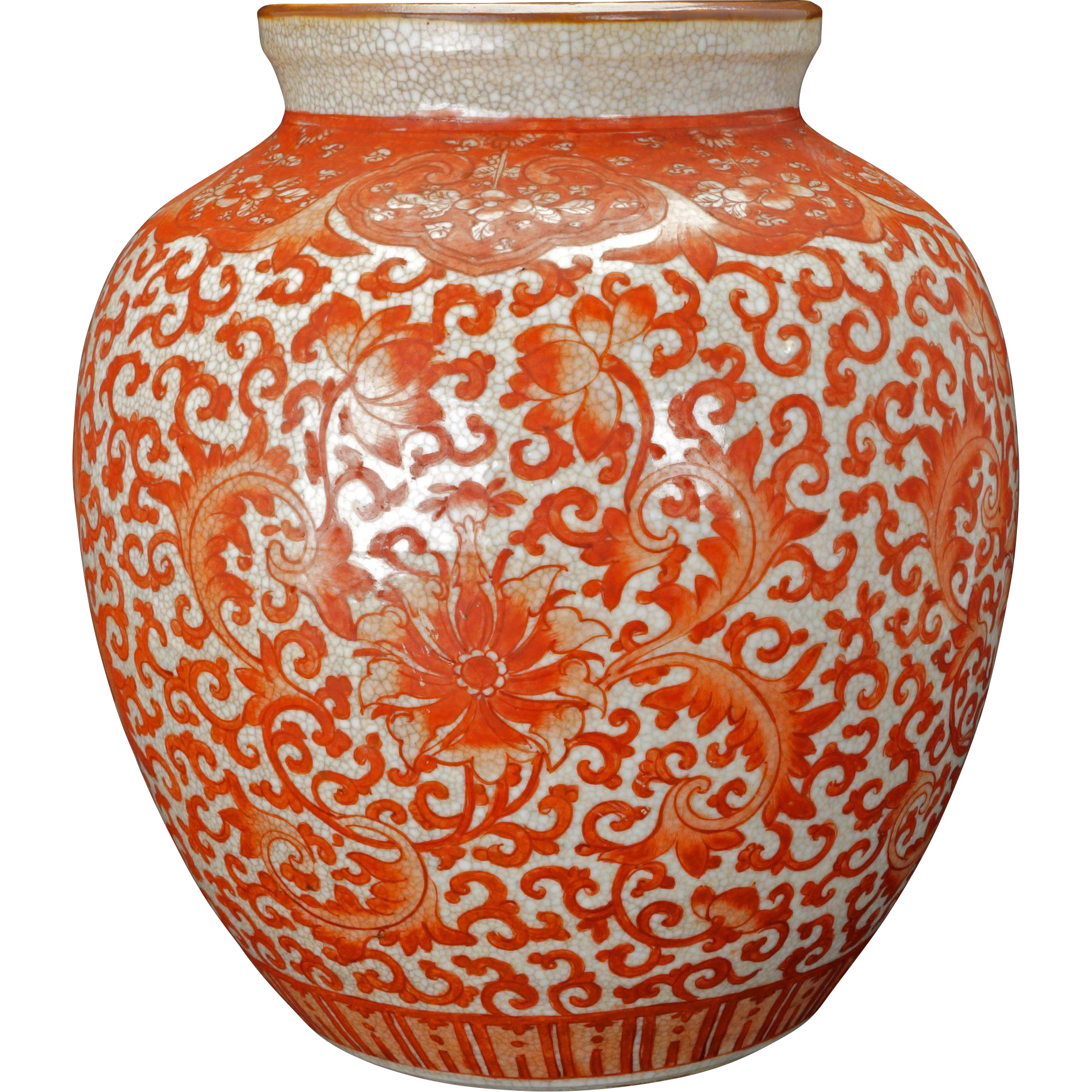 Chinese Porcelain Vase With Copper Red Lotus Scrolling On Oatmeal Crackle Glaze Body Early 20th Century Porcelain Painting Vase Chinese Porcelain