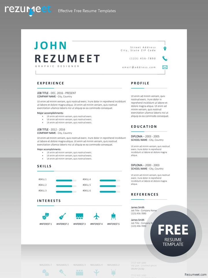 Eiger Free Clean Professional Resume Template Rezumeet Com Resume Template Free Resume Template Professional Resume Design Template