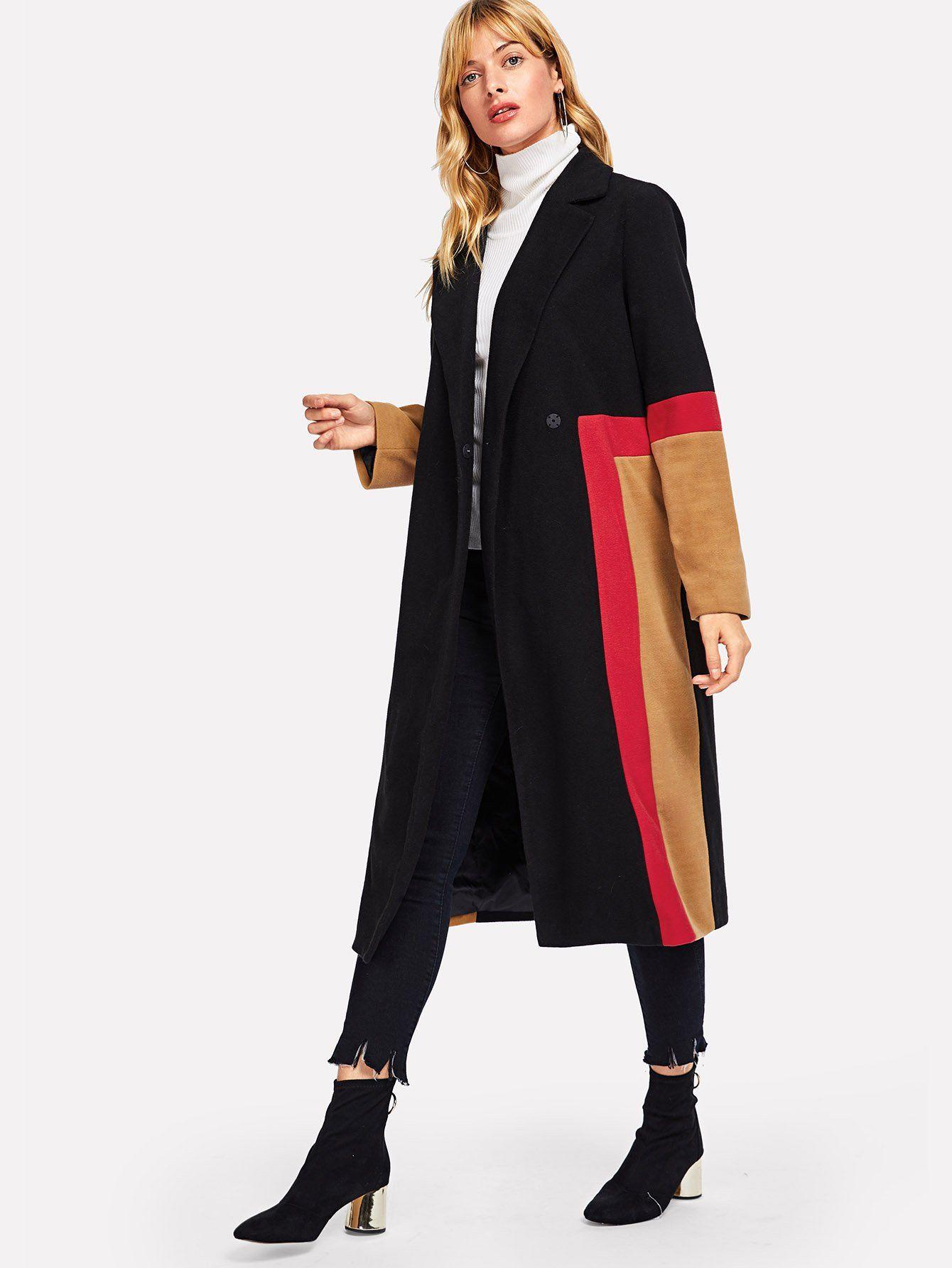 170c47e0d2 Color Block Button Notched Neck Coat | Products | Coat, Fashion, Color