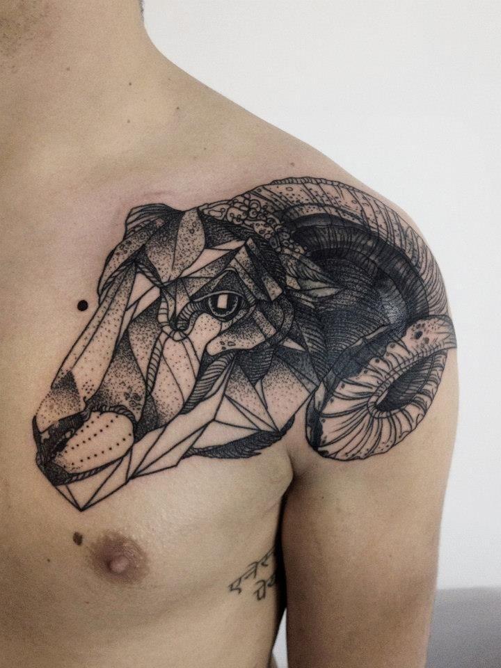 Sheep Head Black Ink Tattoo On Shoulder Ram Tattoo Aries Tattoo Shoulder Tattoo