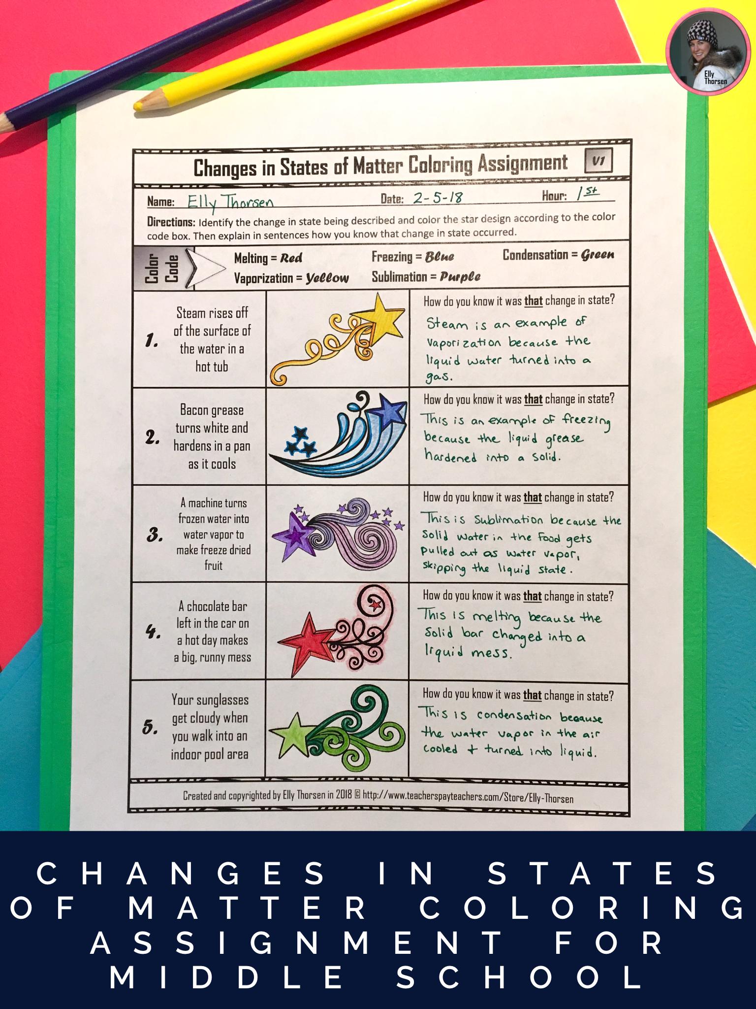 Changes in States of Matter Coloring Worksheet   States of matter [ 2048 x 1536 Pixel ]