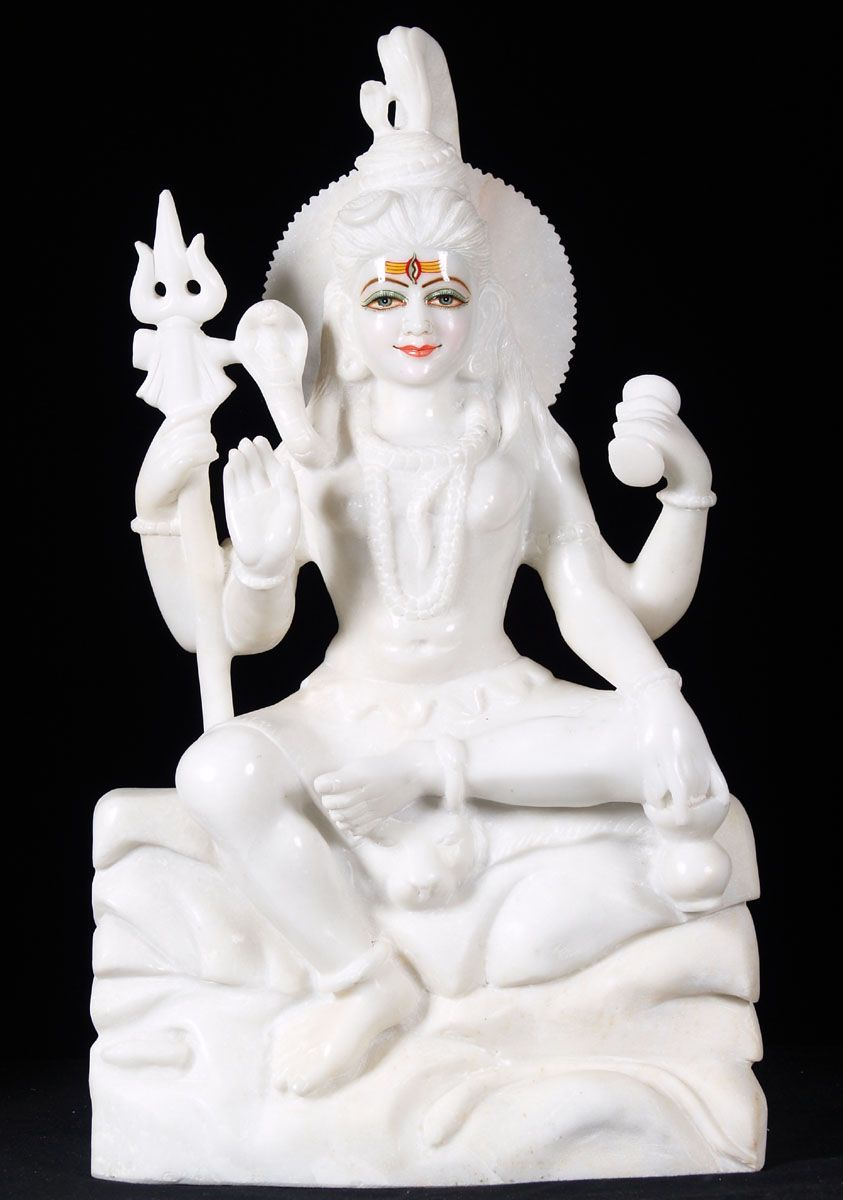 """View the White Marble Seated Shiva Sculpture 24"""""""