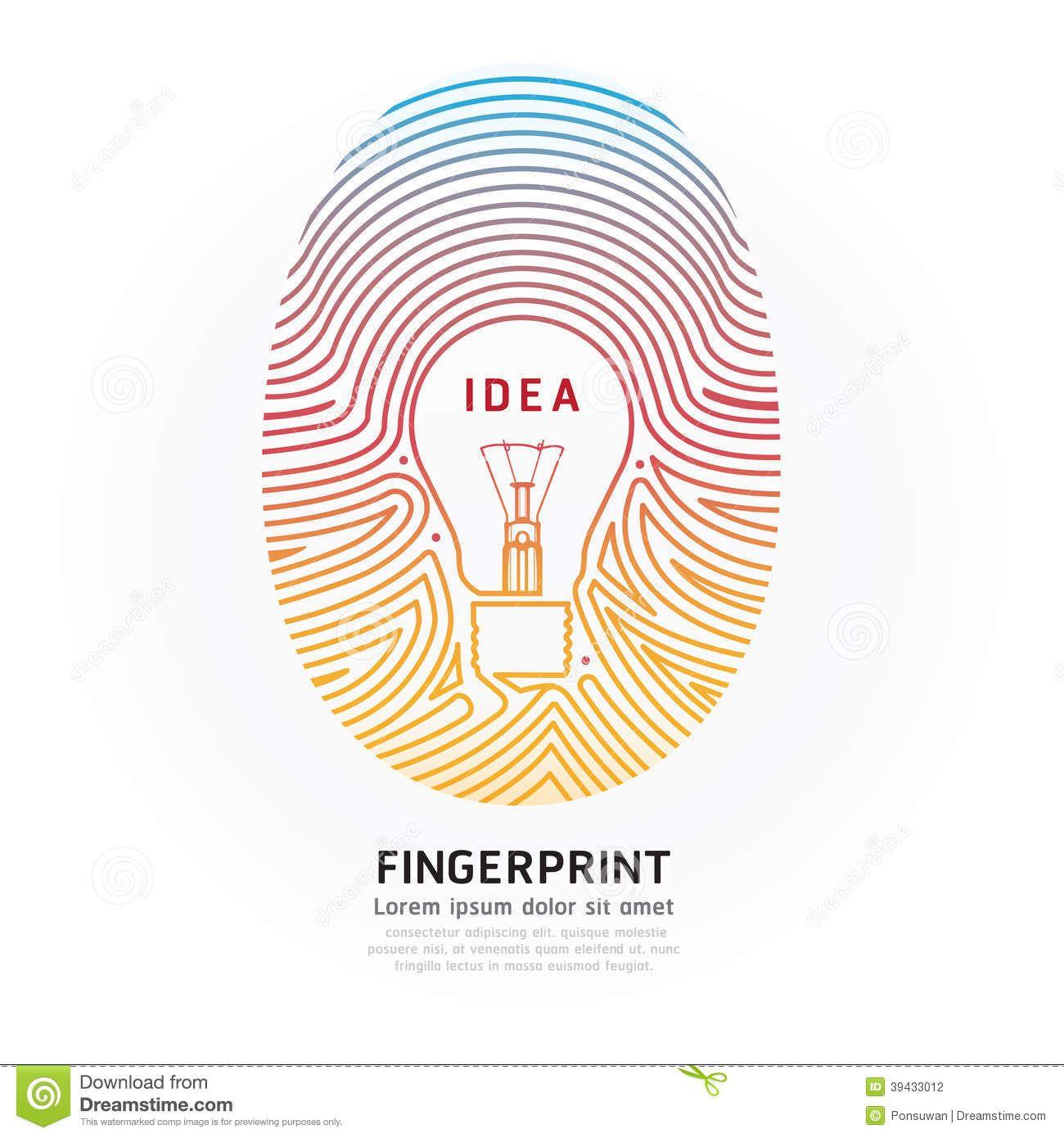 Fingerprint Lightbulb Color Vector Design Illustration 39433012 Jpg 1 300 1 390 Pixels Log In For S Illustration Vectorielle Empreinte Digitale Illustration