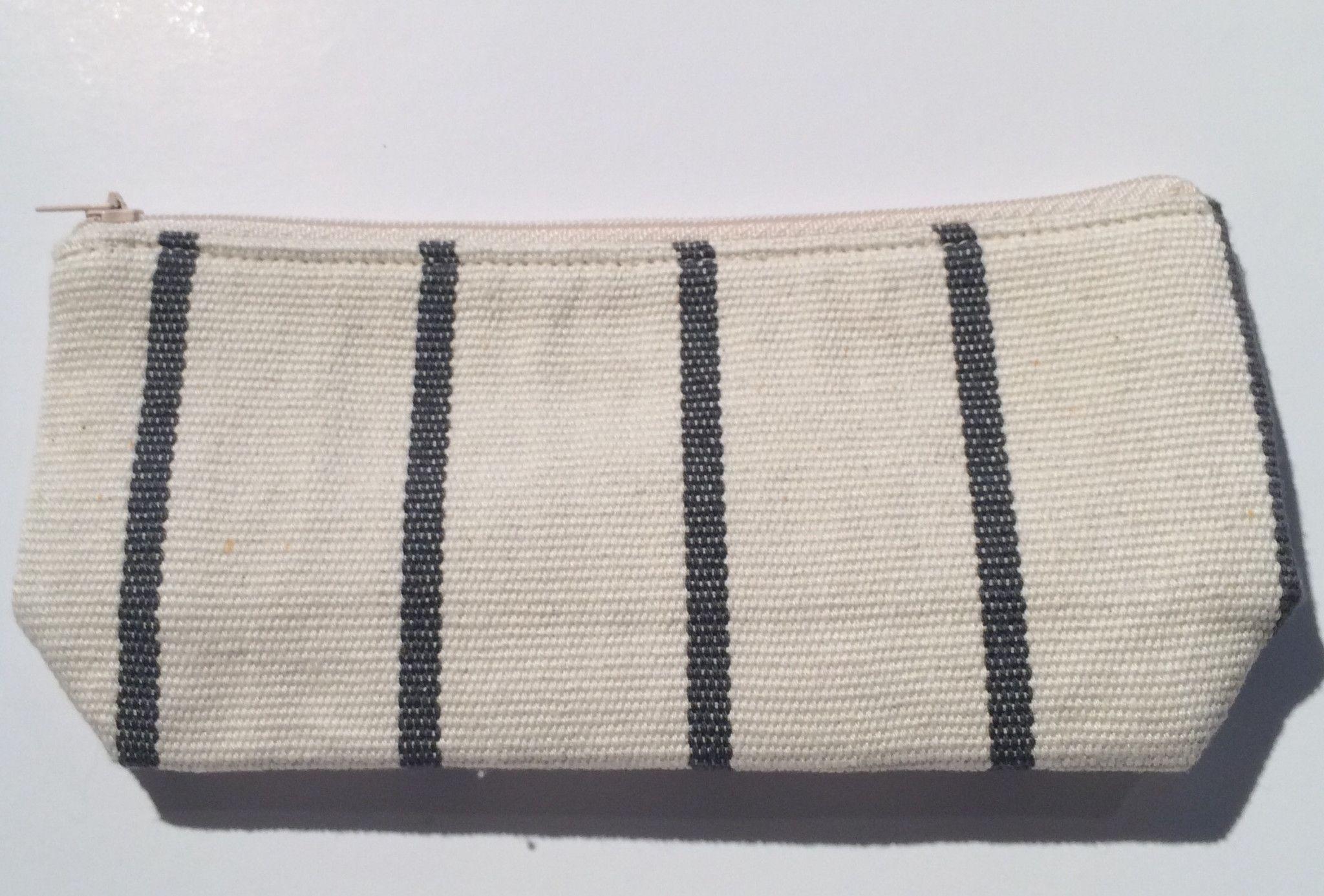 Natural Dye Cotton Striped Pencil Pouch