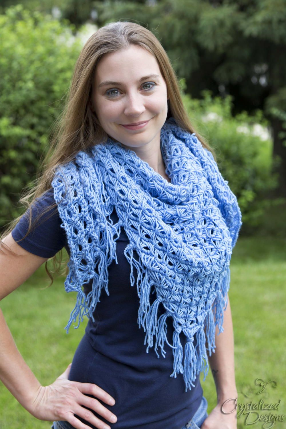 Broomstick Lace Triangle Shawl | Broomstick lace, Shawl and Crochet