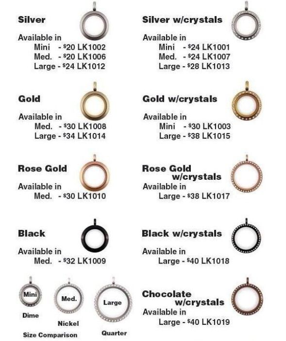 Origami Owl Living Locket Size And Price Chart Showing Different Sizes Styles With Price List Origami Owl Jewelry Origami Owl Origami Owl Designer