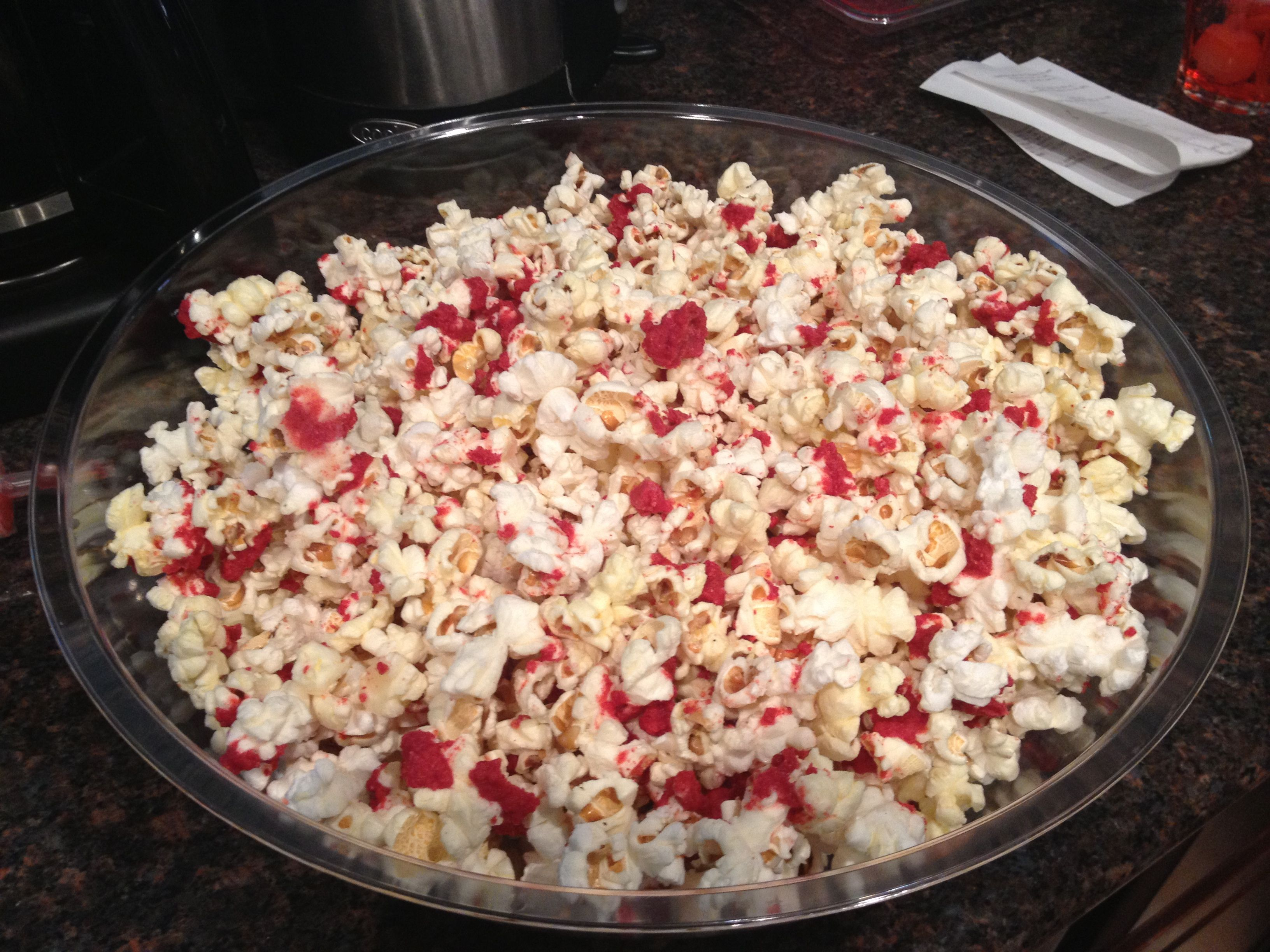 Blood spatter popcorn for Dexter finale - (white chocolate with ...
