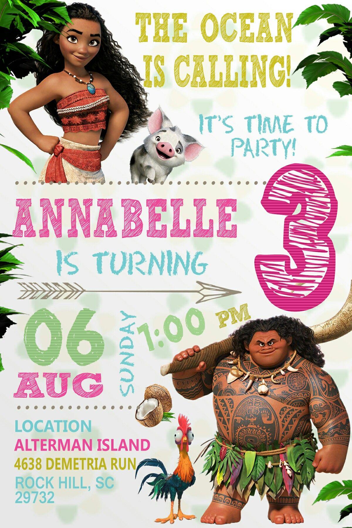 Annabelles Moana Invitation D Annies 3rd Birthday Pinterest