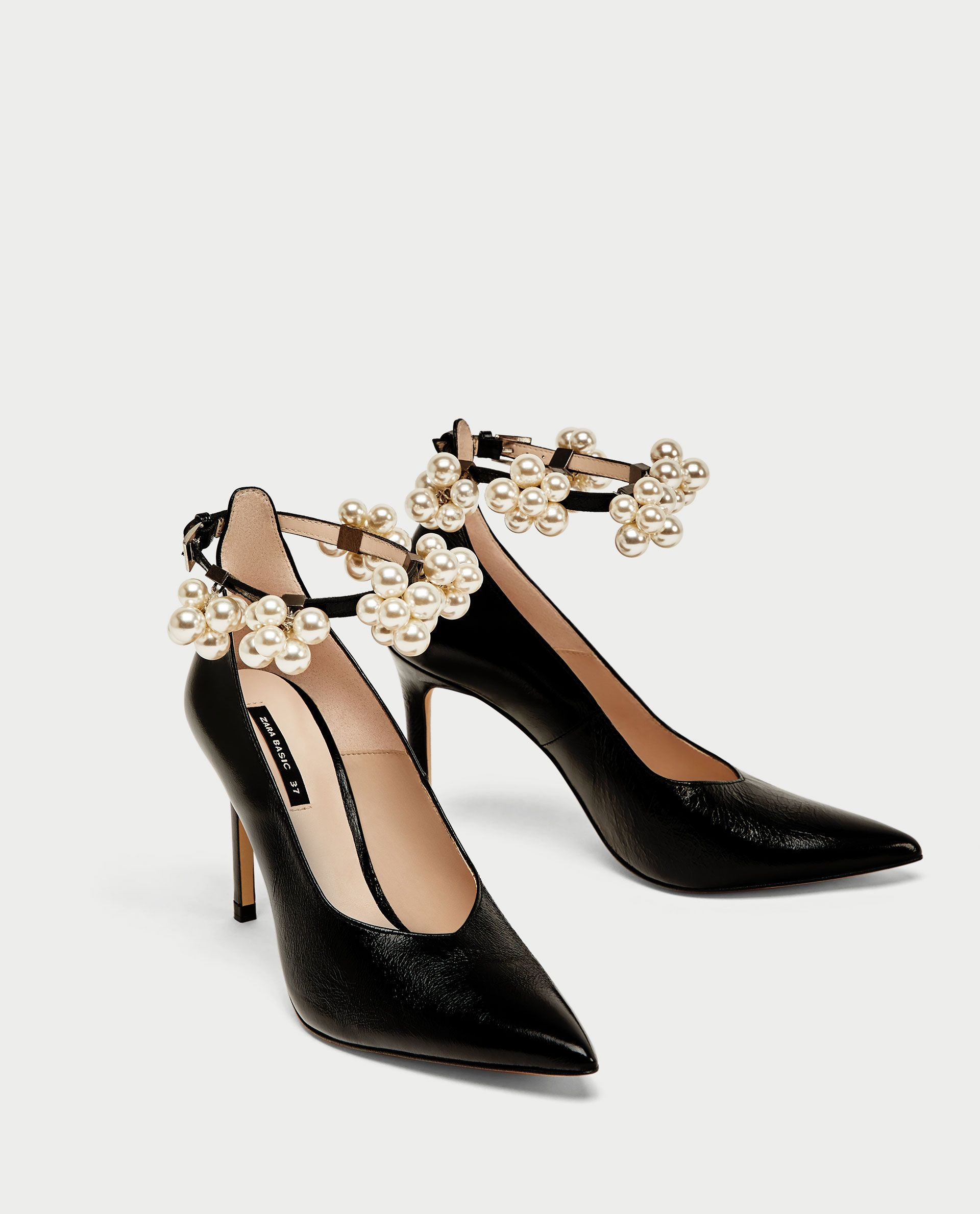 HIGH HEEL COURT SHOES WITH BEADED ANKLE STRAP - View all-SHOES-WOMAN