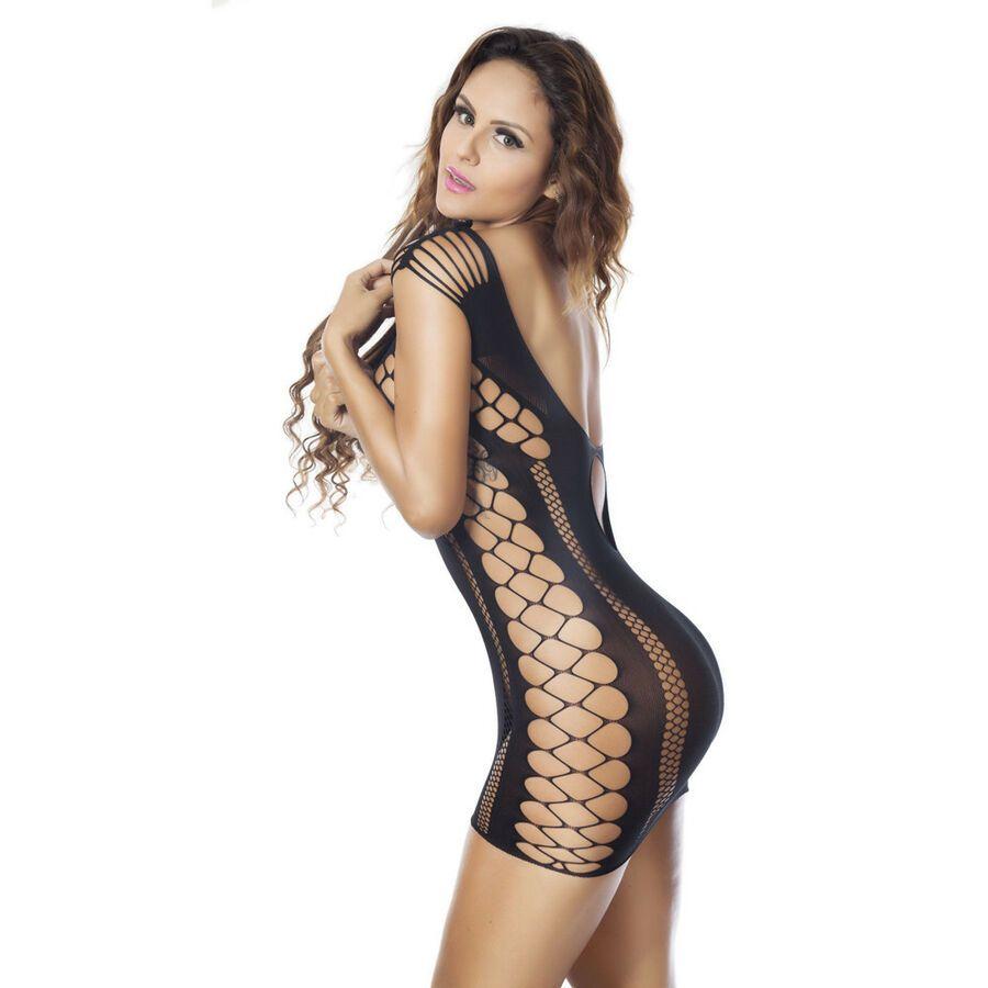 Women Open Crotch Mesh Fishnet See-through Babydoll Lingerie Bodysuit Nightwear