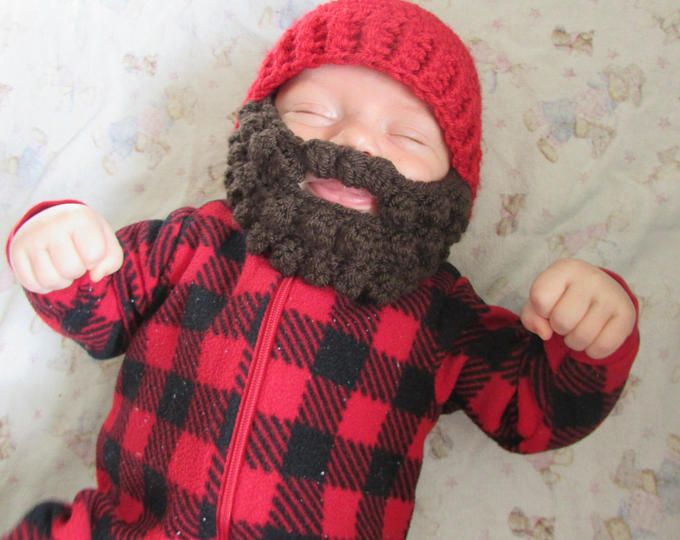 Baby Beard Hat for infant. 0-3 months Woodsman Beanie. Baby Woodsman hat.  Can do any size color. Lumberjack hat 5dca12fc106