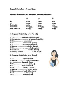 Spanish Worksheet Present Tense Regular Verbs Regular Verbs Present Tense Verbs Learning Spanish Vocabulary
