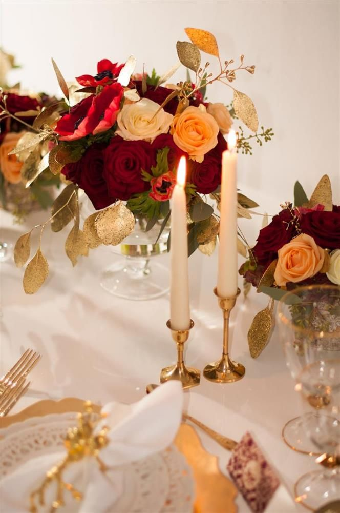Cupofroses Com Wedding Table Decoration Red White Gold Anemones