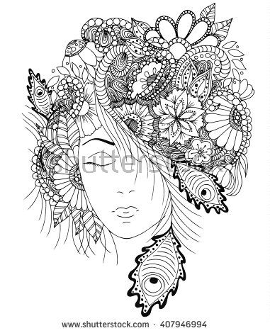 vector illustration girl with flowers