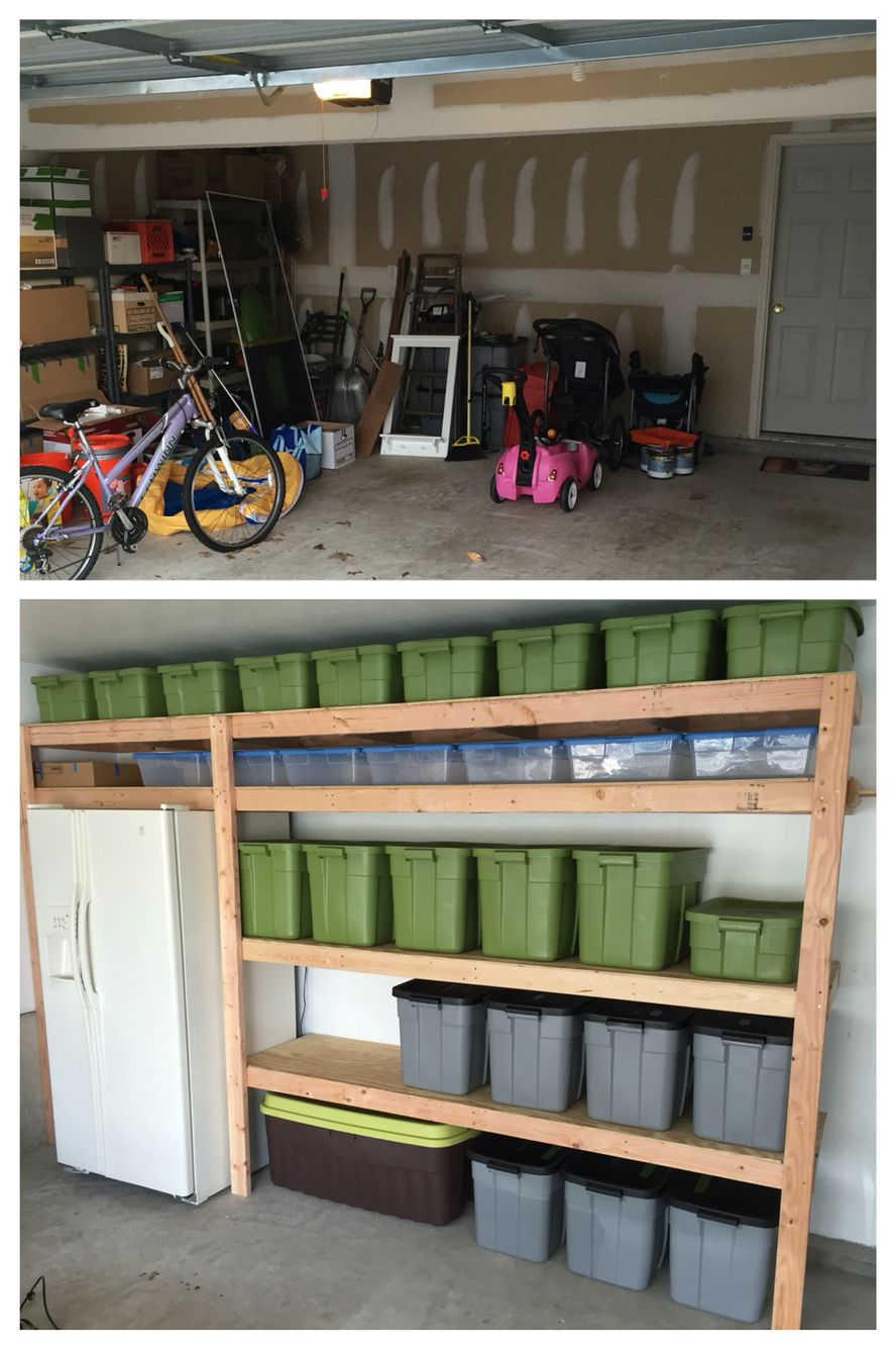 Open shelving in a garage is a great storage solution for big tubs ...