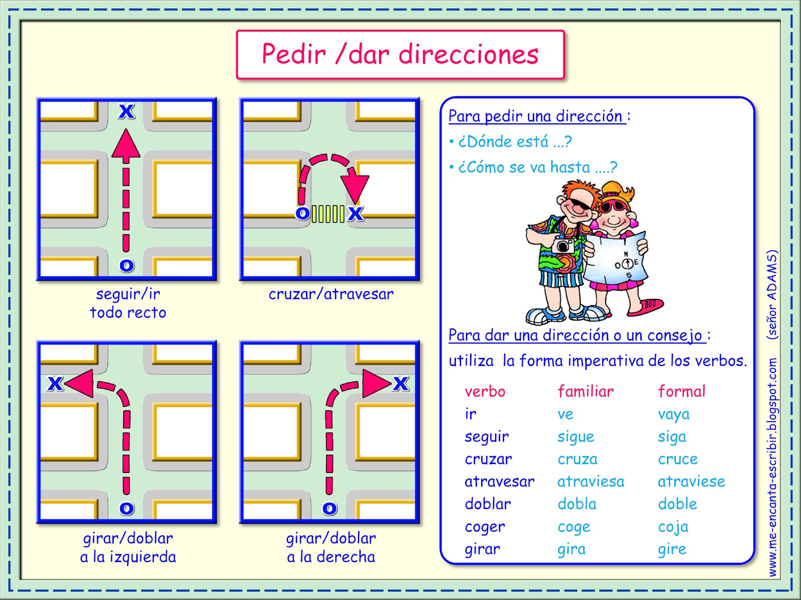 Me Encanta Escribir En Espanol Pedir Y Dar Direcciones Escuela