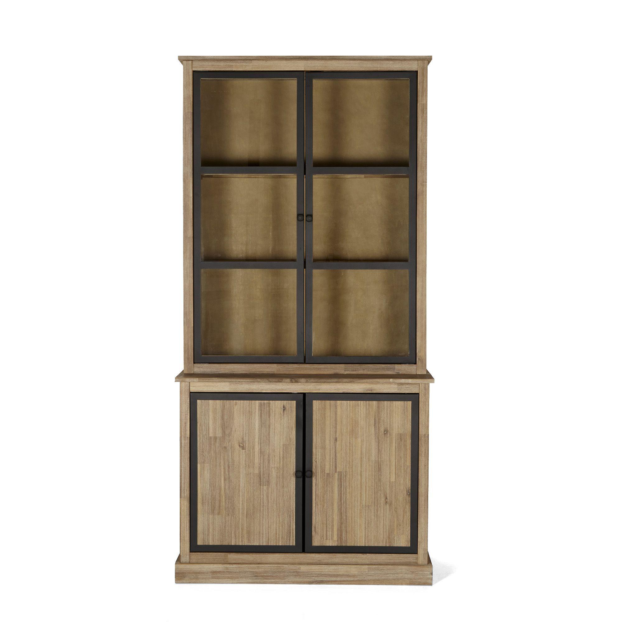 Meuble double vitrine style industriel brun blanchi cocto les vaisseliers buffets et - Salon salle a manger style industriel ...