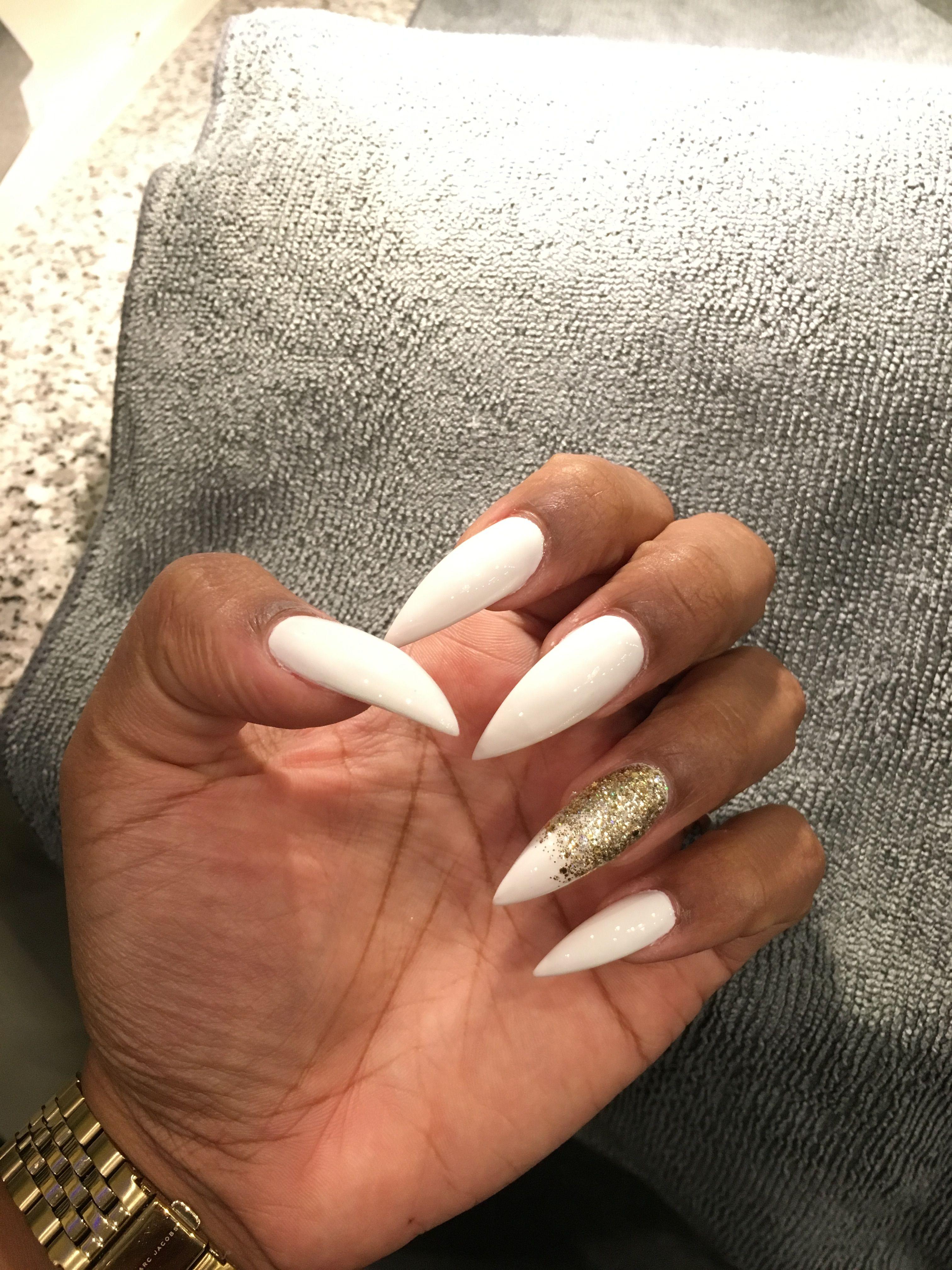 All White Stilettos Nails With Glitter Accent Fleek