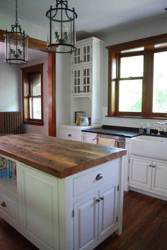 Reclaimed Wood Kitchen Island Top Base Not By Urbanwoodgoods 799 00 Wood Top Island Kitchen Kitchen Island Decor Kitchen Island Tops