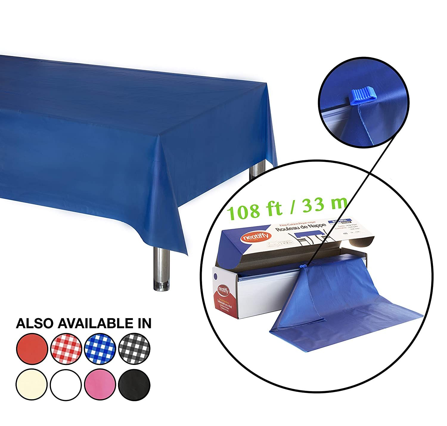 54 Inch X 108 Feet Thick Plastic Table Cloth Roll Party Banquet Durable Table Cover Reusable Disposable Tab In 2020 Picnic Packing Plastic Tablecloth Plastic Tables