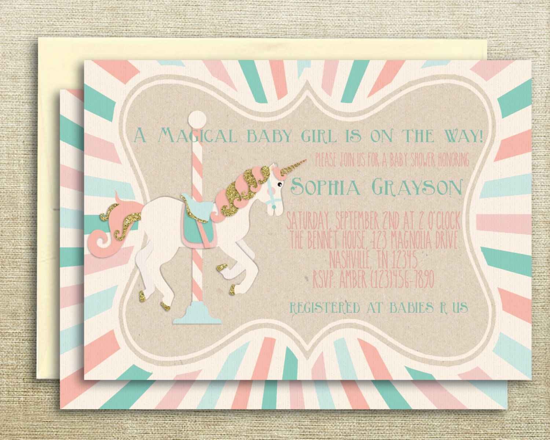 Baby Shower Unicorn ~ Carousel unicorn printable baby shower invitation by