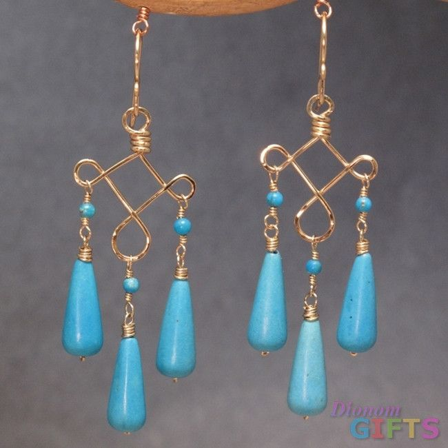 """Turquoise on hammered curled wire, 2-1/4"""" Earring Gold Or Silver"""
