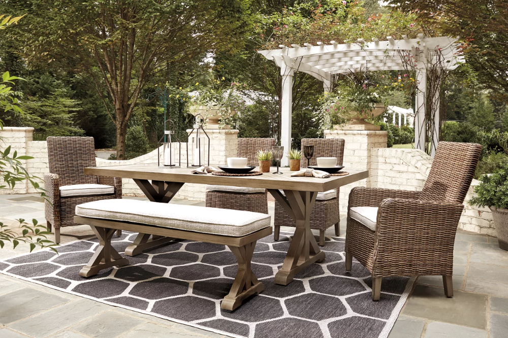 Outdoor Dining Table With Bench And Chairs