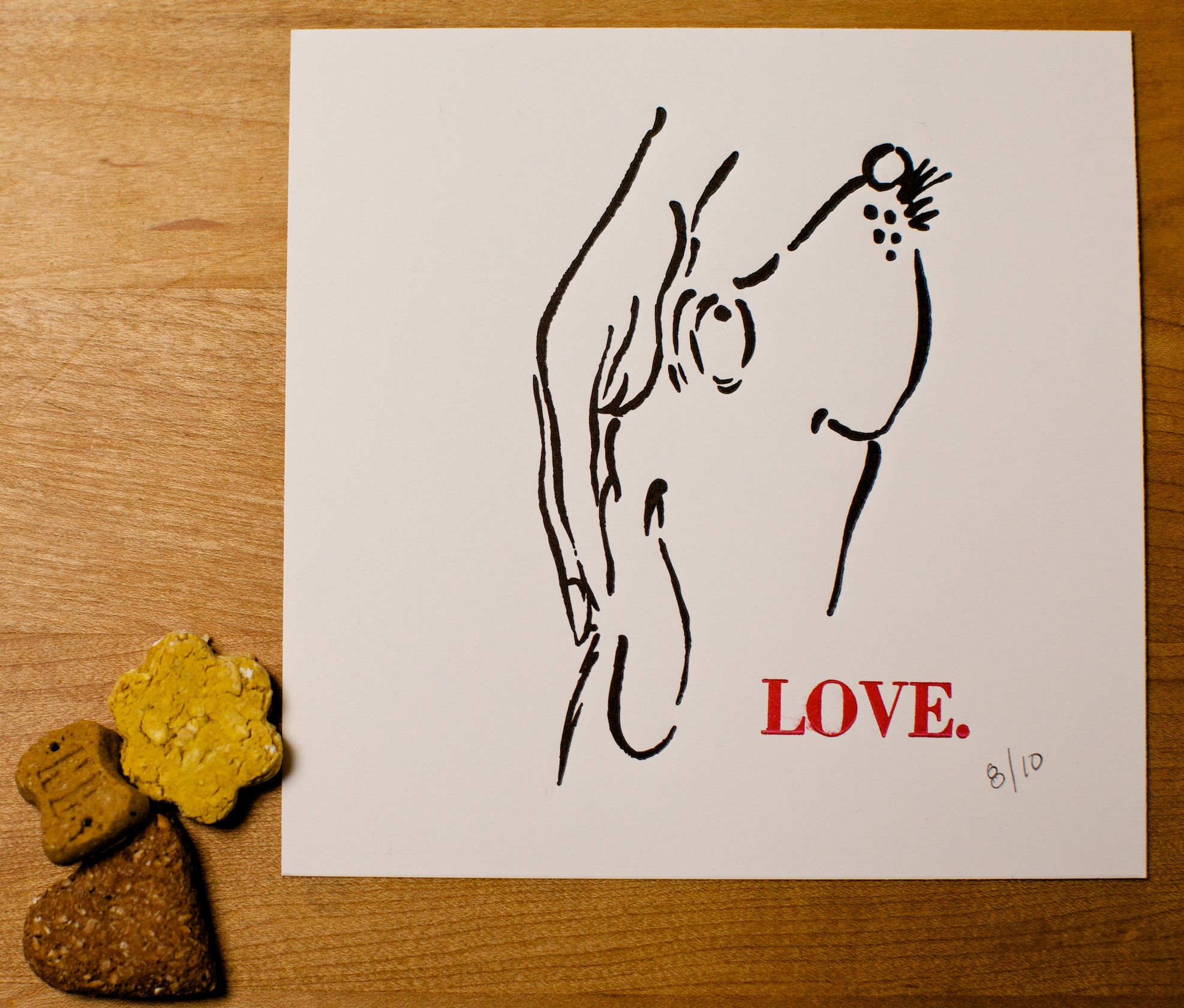 Limited edition doggie love print. 2 color.