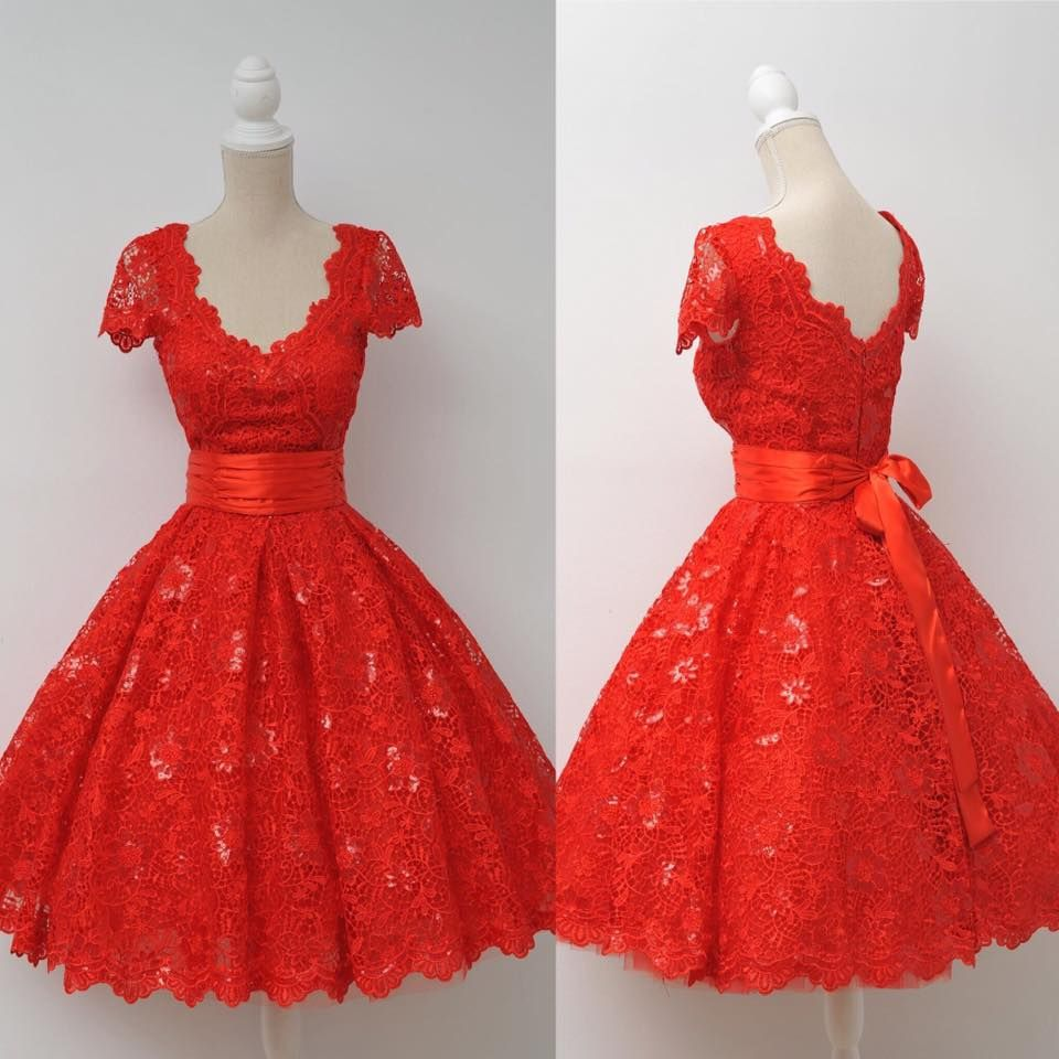 Red homecoming dresslace homecoming dresscute homecoming dress
