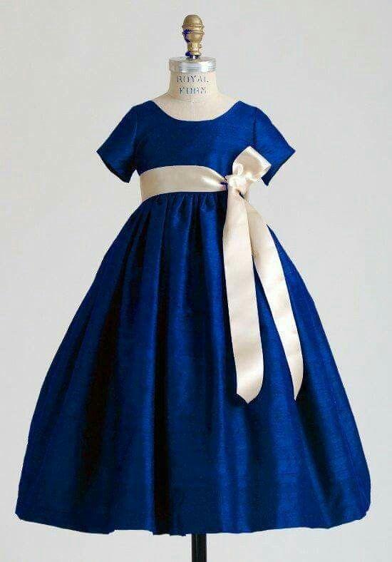 Azul Rey Lazo Crema Vestiidito Vestido Azul Para Niña