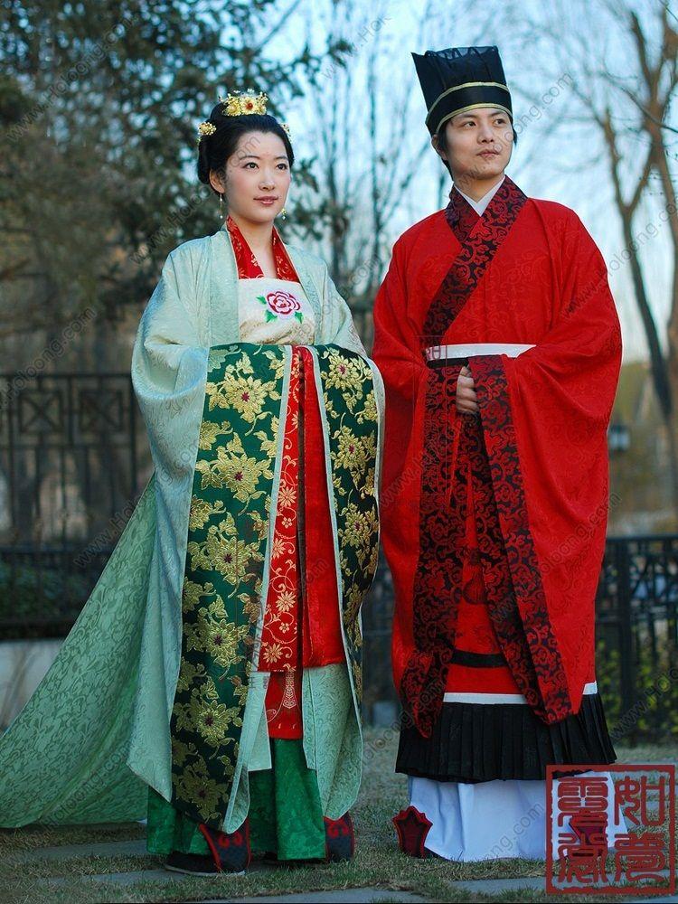man Green Women Floorlength Expensive Hanfu Wedding Dress