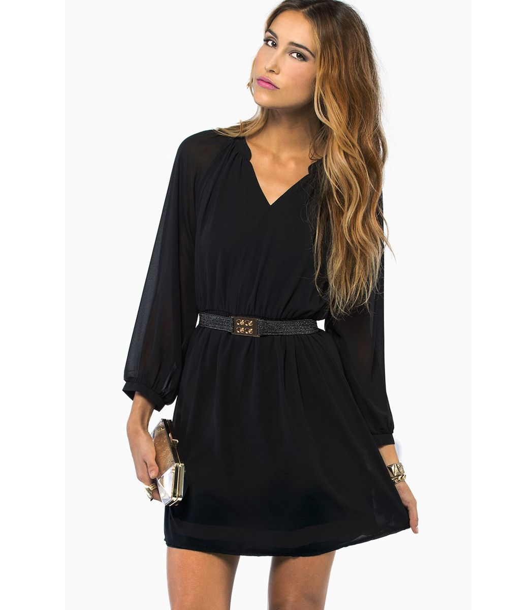 Long black shift dress