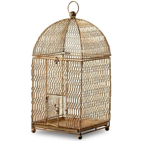 """National Tree Company 22"""" Garden Accents Birdcage Table Decor ($88) ❤ liked on Polyvore featuring home, outdoors, outdoor decor, brown, garden patio decor, metal garden decor, garden decor, metal birdcage and national tree company"""