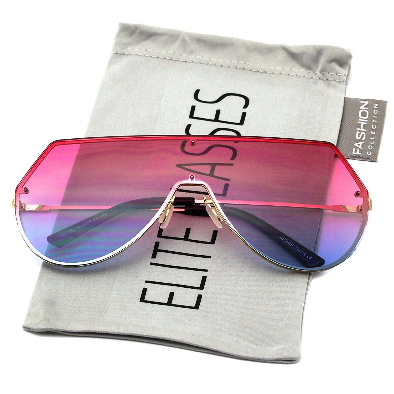 6236ea4d1 Iambcoolin.com: Elite Oversize Unisex Flat Top Aviator Retro Shield Mirrored  Lens Rimless Sunglasses (Red Ombre, 5.8) (Pink-Blue. Men's Sunglasses ...