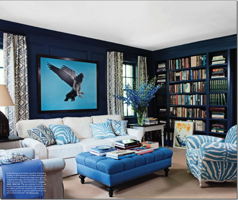 Blue living room or den ideas love the eagle against the for Den living room designs