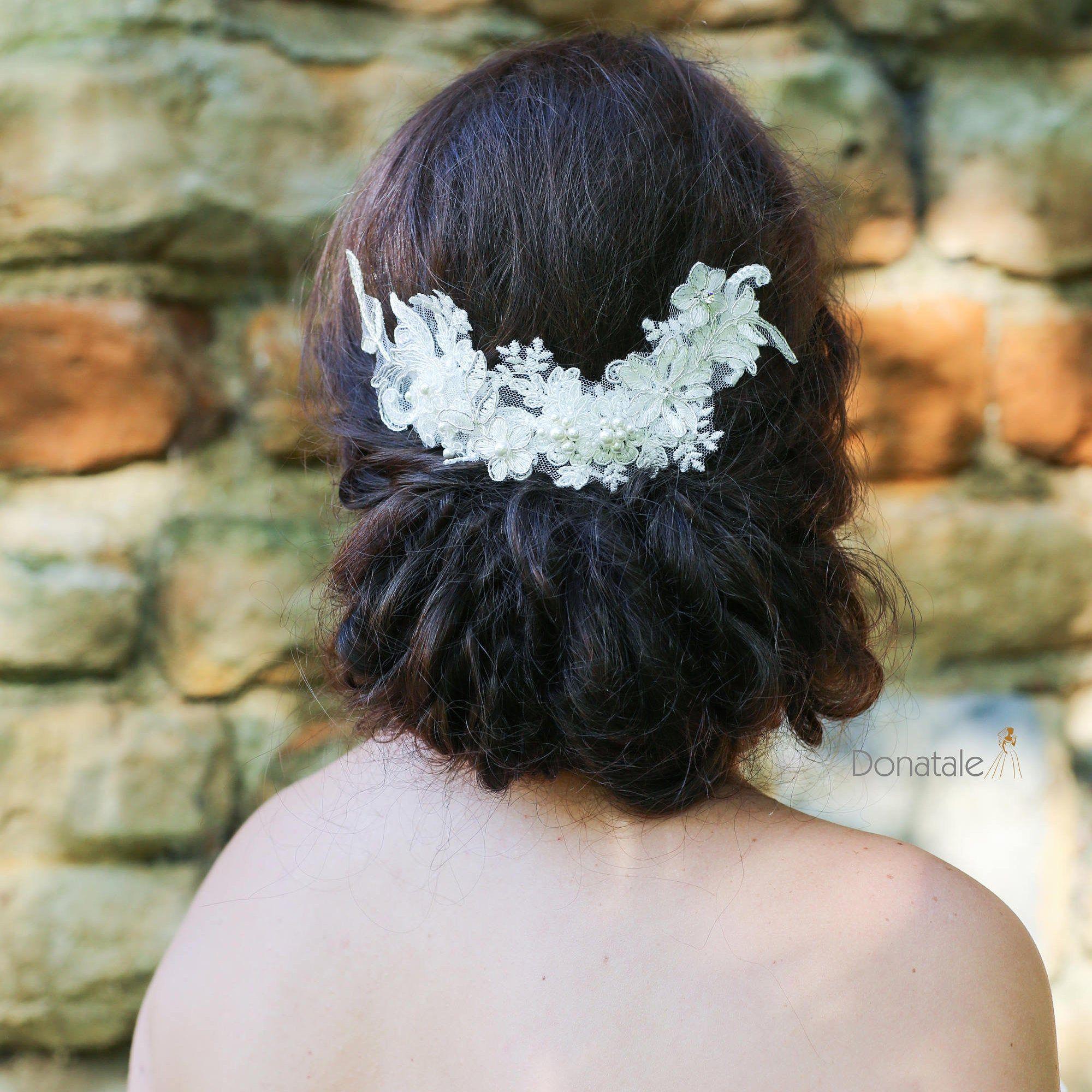 Ivory Lace Comb Wedding Head Piece Bridal Hair Accessories Rhinestone Pearl