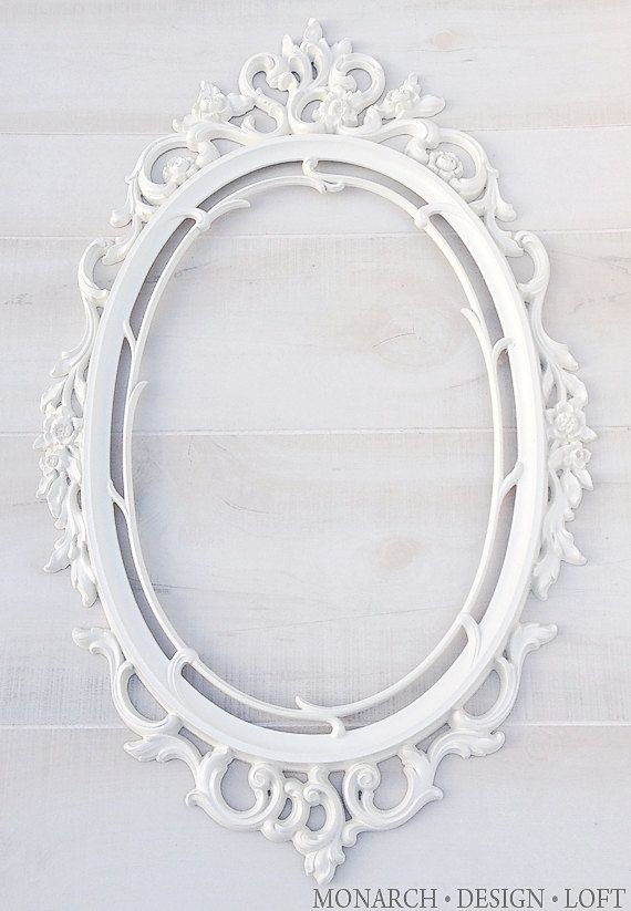 White Oval Frame Baroque Ornate Frame Antique White Shabby Chic Wall ...