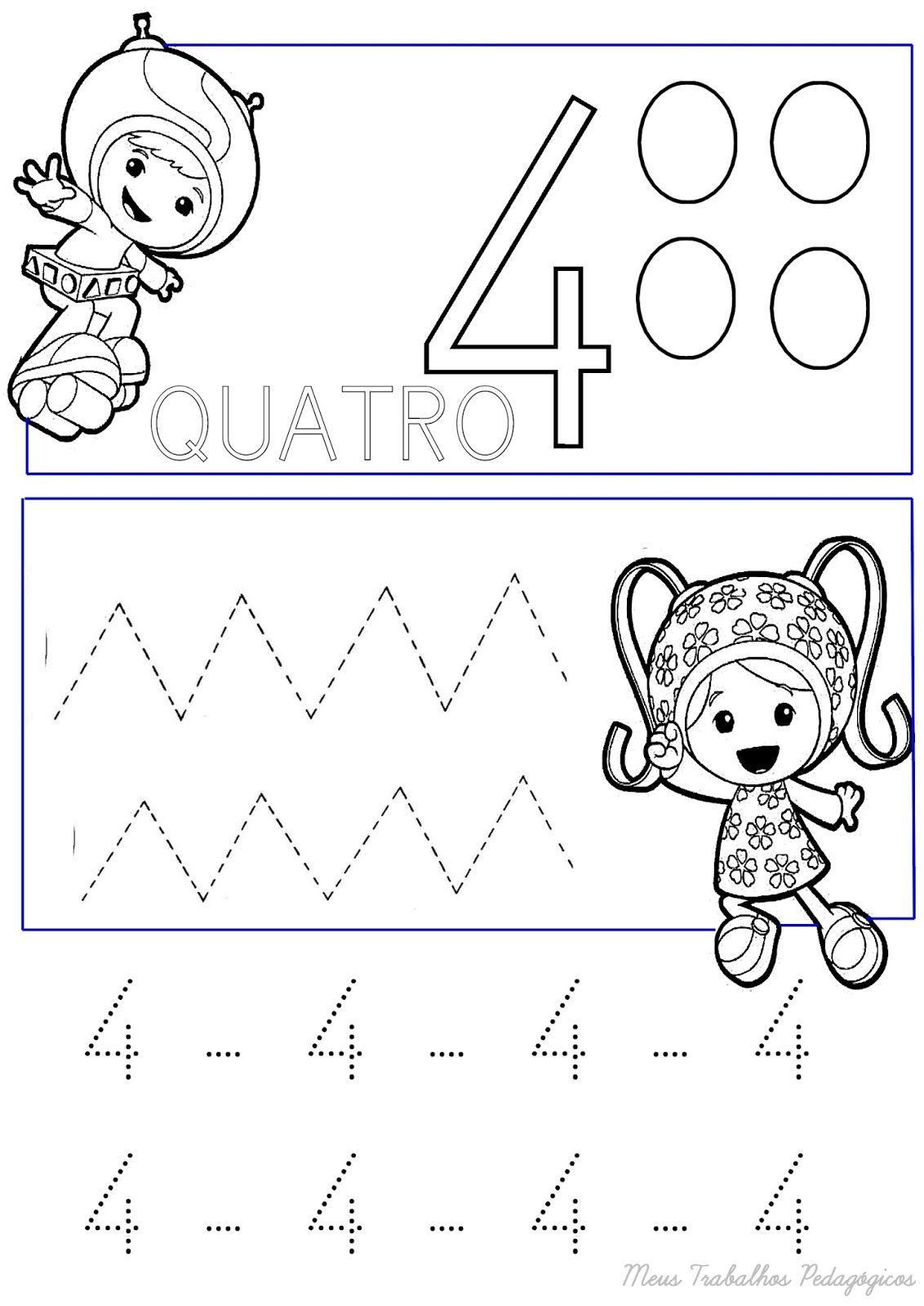 atividades de matemática número 4 para pontilhar e colorir receba